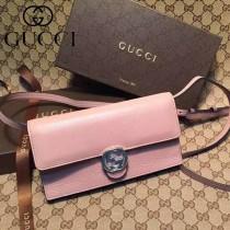 GUCCI 369664-4 名媛必備新款裸粉色全皮雙G搭扣手拿包單肩晚宴包