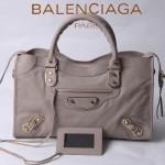 BALENCIAGA JB115748S-5 朋克搖滾風女士淺灰色原版羊皮鉚釘機車包
