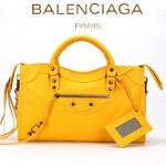 BALENCIAGA A085332-6 人氣熱銷女士桔黃色原版皮鉚釘機車包手提肩背包