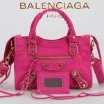 BALENCIAGA JB300295-6 潮流經典款桃紅色原版羊皮小號鉚釘機車包