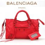 BALENCIAGA A085332-2 人氣熱銷女士大紅色原版皮鉚釘機車包手提肩背包