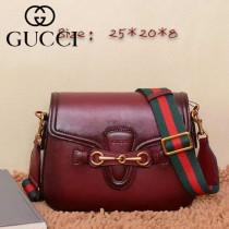 Gucci380573 新款復古小牛皮LADY WEB系列棗紅大號斜背包