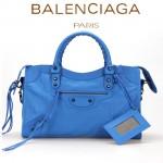 BALENCIAGA A115748S-4 歐美時尚新款天藍色進口皮黑小釘流蘇機車包