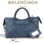 BALENCIAGA A115748S 歐美時尚新款寶藍色進口皮黑小釘流蘇機車包