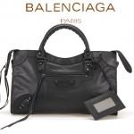 BALENCIAGA A085332-5 人氣熱銷女士黑色原版皮鉚釘機車包手提肩背包