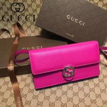 GUCCI 369664-5 名媛必備新款艷紫色全皮雙G搭扣手拿包單肩晚宴包