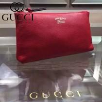 GUCCI 368881-2 時尚新款純色女士紅色全皮拉鏈手拿包多功能包