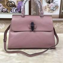 GUCCI 370832-3 專櫃新款明星全智賢同款裸粉色全皮竹節手提單肩包