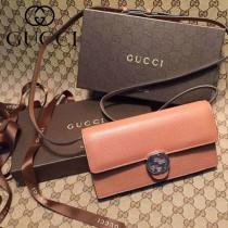 GUCCI 369664-3 名媛必備新款杏棕色全皮雙G搭扣手拿包單肩晚宴包