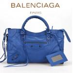 BALENCIAGA A085332-3 人氣熱銷女士海藍色原版皮鉚釘機車包手提肩背包