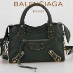 BALENCIAGA JB300295-4 潮流經典款墨綠色原版羊皮小號鉚釘機車包