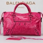 BALENCIAGA A332 潮流時尚女士桃紅色原版油臘皮鉚釘機車包單肩手提包