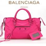 BALENCIAGA A085332-8 人氣熱銷女士玫紅色原版皮鉚釘機車包手提肩背包