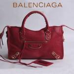 BALENCIAGA JB115748S-8 人氣熱銷新款大紅色進口羊皮小金釘機車包