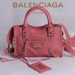 BALENCIAGA JB300295-8 潮流經典款粉紅色原版羊皮小號鉚釘機車包