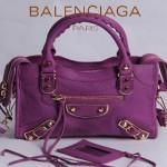 BALENCIAGA JB300295-7 潮流經典款中紫色原版羊皮小號鉚釘機車包