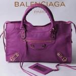 BALENCIAGA JB115748S-7 朋克搖滾風女士中紫色原版羊皮鉚釘機車包