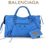 BALENCIAGA A085332-4 人氣熱銷女士天藍色原版皮鉚釘機車包手提肩背包