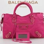 BALENCIAGA JB115748S-6 朋克搖滾風女士桃紅色原版羊皮鉚釘機車包