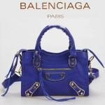 BALENCIAGA JB300295 潮流經典款海藍色原版羊皮小號鉚釘機車包