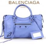 BALENCIAGA A085332-7 人氣熱銷女士淺海藍色原版皮鉚釘機車包手提肩背包