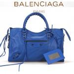 BALENCIAGA A115748S-3 歐美時尚新款海藍色進口皮黑小釘流蘇機車包