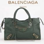 BALENCIAGA JB115748S-3 朋克搖滾風女士墨綠色原版羊皮鉚釘機車包