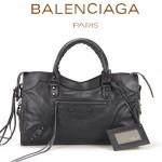BALENCIAGA A115748S-5 歐美時尚新款黑色進口皮黑小釘流蘇機車包