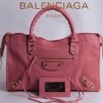 BALENCIAGA  JB115748S 朋克搖滾風女士粉紅色原版羊皮鉚釘機車包