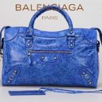 BALENCIAGA  A332D 潮流時尚女士海藍色原版油臘皮鉚釘機車包單肩手提包