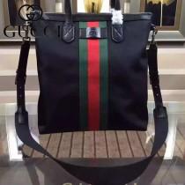 GUCCI 368559 潮男必備商務黑色帆布配牛皮紅綠織帶小號購物袋