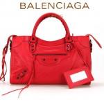 BALENCIAGA A115748S-2 歐美時尚新款大紅色進口皮黑小釘流蘇機車包