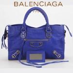 BALENCIAGA JB115748S-4 朋克搖滾風女士海藍色原版羊皮鉚釘機車包