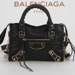 BALENCIAGA JB300295-2 潮流經典款黑色原版羊皮小號鉚釘機車包