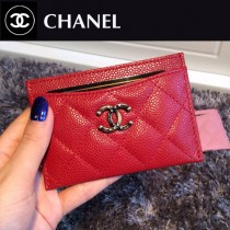 CHANEL 006-4 時尚輕便mini紅色原版魚子醬皮菱格卡包卡片夾