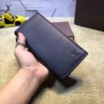 LV M66540-2 時尚商務男士黑色荔枝紋長款兩折西裝夾