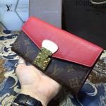 LV M58414-2 時尚潮流新款PALLAS系列紅色鎖扣長款錢包