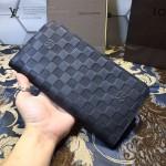 LV N66566 潮流時尚新款男士黑色壓格紋長款拉鏈錢包手拿包