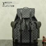 LV N41379 潮流時尚男士大容量黑色棋盤格束口雙肩包書包