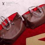 LV N51105-2 人氣熱銷單品NEVERFULL咖色棋盤格原版皮中號購物袋