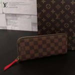 LV N60534 專櫃新款女士CLEMENCE咖色棋盤格配紅色內裡長款錢包