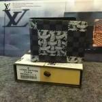 LV N62663-2 專櫃新款商務男士黑色棋盤格配麻繩塗鴉短款錢包