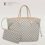 LV N41360 潮流人氣新款女士Neverful白棋盤格配小包大號購物袋肩背包