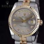 ROLEX-07-31 時尚新款商務男士間金系列日誌型藍寶石鏡面鋼帶腕錶