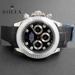 ROLEX-011-3 型男必備宇宙型迪通拿閃亮銀鑲鑽膠帶款腕錶