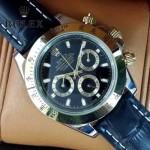 ROLEX-012-5 新款商務男士宇宙型迪通拿間金外圈皮帶款腕錶