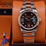 ROLEX-07-17 時尚新款商務男士間玫瑰金系列日誌型藍寶石鏡面鋼帶腕錶