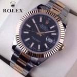 ROLEX-07-24 時尚新款商務男士間玫瑰金系列日誌型藍寶石鏡面鋼帶腕錶