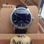 ROLEX-09 時尚新款黑色藍寶石鏡面皮帶款自動機械腕錶