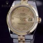 ROLEX-07-27 時尚新款商務男士間金系列日誌型藍寶石鏡面鋼帶腕錶